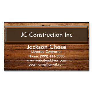 Construction Wood Grain Business Card Magnet Magnetic Business Cards