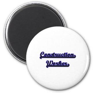Construction Worker Classic Job Design 6 Cm Round Magnet