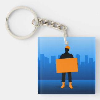 Construction Worker Double-Sided Square Acrylic Key Ring