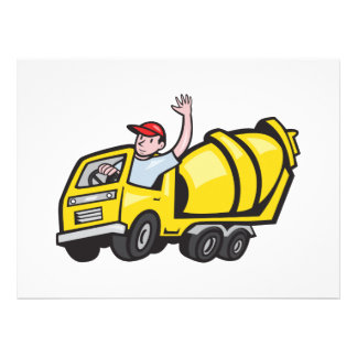 Construction Worker Driver Cement Mixer Truck Custom Invitations