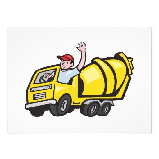 Construction Worker Driver Cement Mixer Truck Custom Invitations