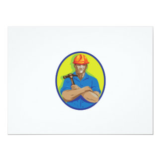 Construction Worker Foreman Arms Crossed WPA 17 Cm X 22 Cm Invitation Card