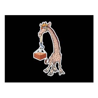 construction worker giraffe postcard
