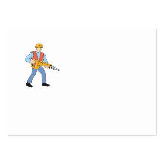 Construction Worker Holding Jackhammer Cartoon Business Cards