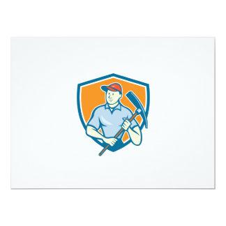 Construction Worker Holding Pickaxe Shield Cartoon Invites