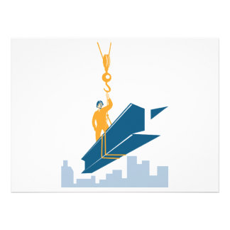 Construction Worker I-Beam Girder Personalized Invitation