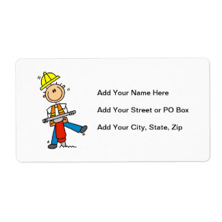 Construction Worker I Build T-shirts and Gifts Shipping Label