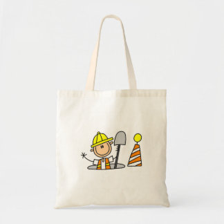 Construction Worker in Manhole Budget Tote Bag