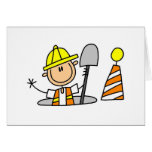 Construction Worker in Manhole Card