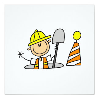 Construction Worker in Manhole T-shirts and Gifts 13 Cm X 13 Cm Square Invitation Card