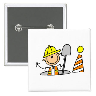 Construction Worker in Manhole T-shirts and Gifts Pinback Button