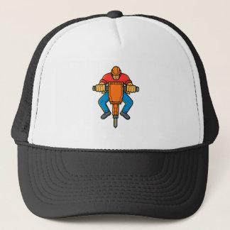 Construction Worker Jackhammer Mono Line Art Trucker Hat