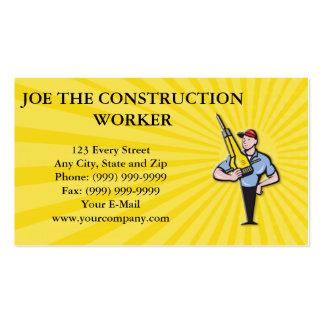 Construction Worker Jackhammer Pneumatic Drill Business Card Templates