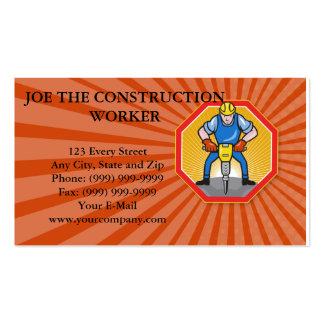 Construction Worker Jackhammer Pneumatic Drill Business Card Template