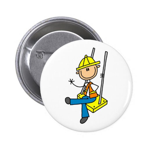 Construction Worker on High Rise Button