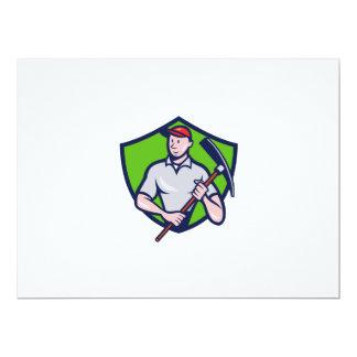Construction Worker Pickaxe Crest Cartoon 17 Cm X 22 Cm Invitation Card