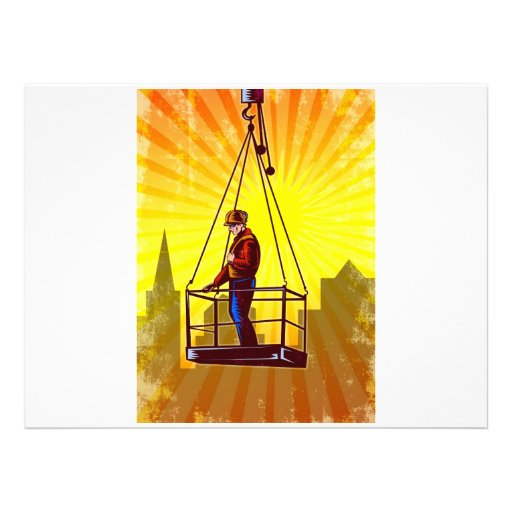 Construction Worker Platform Retro Poster Personalised Invitation