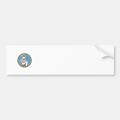 Construction Worker Rolling Up Sleeve Circle Retro Bumper Sticker