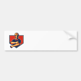 Construction Worker Rolling Up Sleeve Retro Bumper Sticker