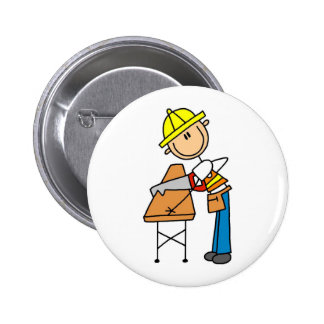 Construction Worker Sawing Board Button