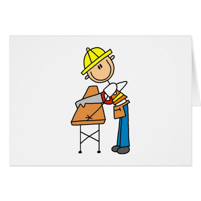 Construction Worker Sawing Board Card