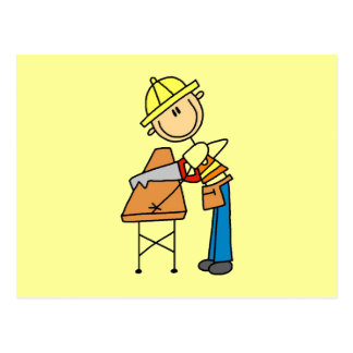 Construction Worker Sawing Board Postcard