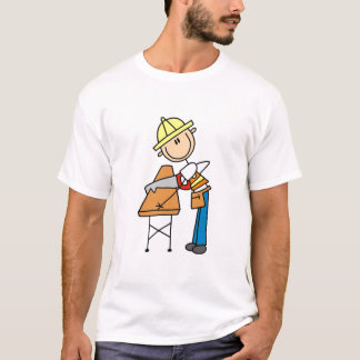 Construction Worker Sawing Board T-Shirt