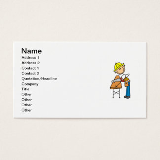 Construction Worker Sawing Lumber Gifts Business Card