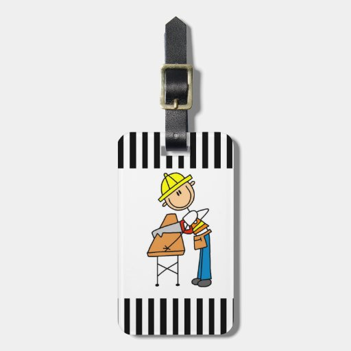 Construction Worker Sawing Lumber Gifts Travel Bag Tags