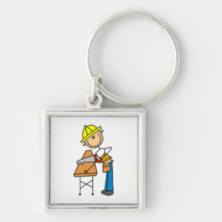 Construction Worker Sawing Lumber Gifts Silver-Colored Square Key Ring
