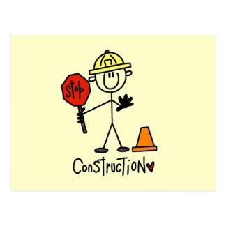 Construction Worker Stick Figure Postcard