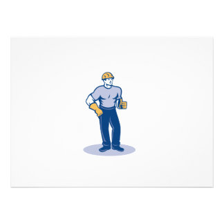 Construction Worker Thumbs Up Retro Custom Invitations