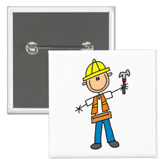 Construction Worker with Hammer 15 Cm Square Badge