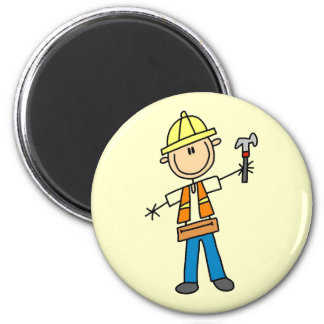 Construction Worker with Hammer 6 Cm Round Magnet