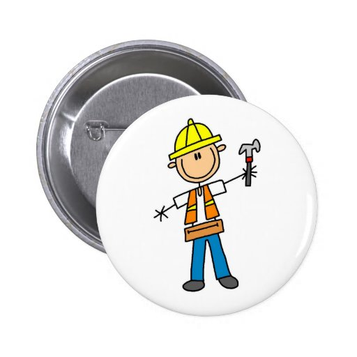 Construction Worker with Hammer Button