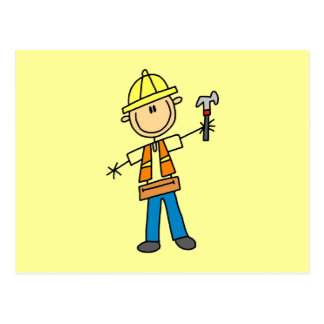 Construction Worker with Hammer Postcard