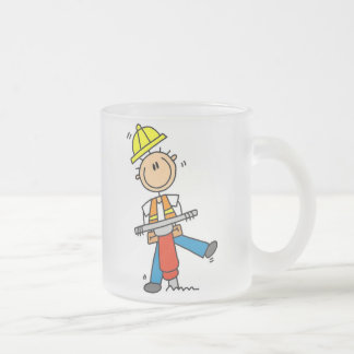 Construction  Worker With Jack Hammer Gifts Frosted Glass Coffee Mug