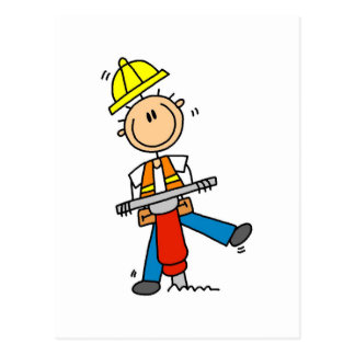Construction Worker with Jack Hammer Postcard