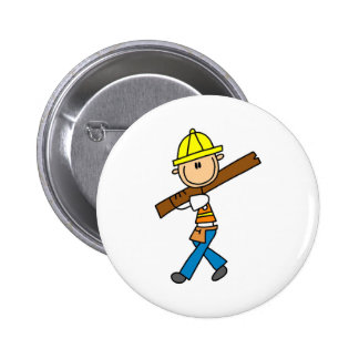 Construction Worker with Lumber Button