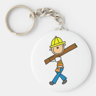 Construction Worker with Lumber Key Ring