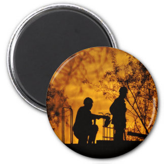 Construction Workers 6 Cm Round Magnet