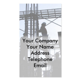 Construction Workers at Building Site Business Card Templates