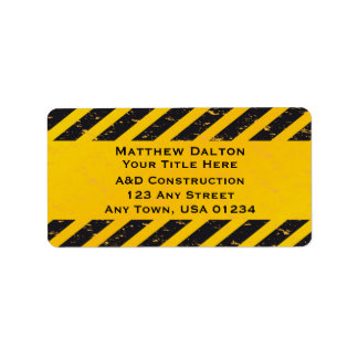 Construction Yellow and Black Address Labels