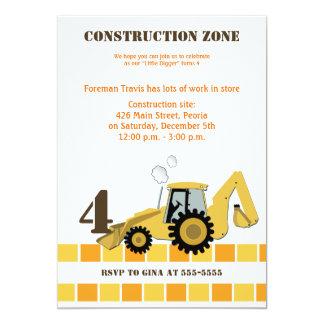 Construction Zone Backhoe Boys Birthday Invite
