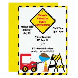 Construction Zone Birthday Card