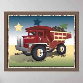 Construction Zone Nursery Art Print - Dump Truck
