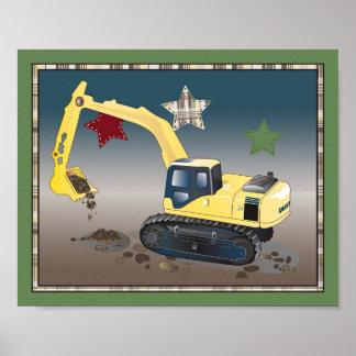 Construction Zone Nursery Art Print - Excavator