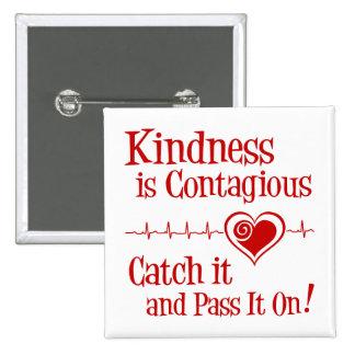 Contagious, red 15 cm square badge