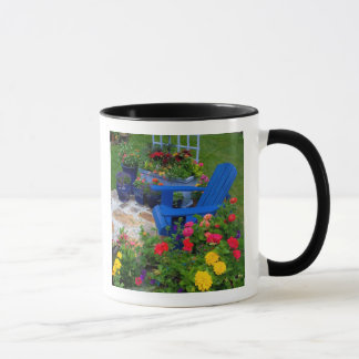 Container Garden design with blue chair in our Mug