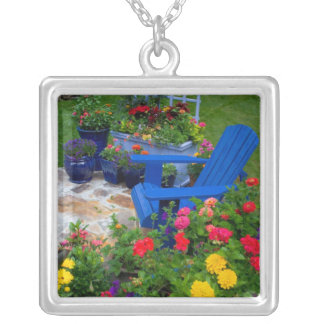 Container Garden design with blue chair in our Square Pendant Necklace